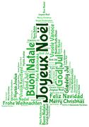 joyeux noel 2014 in tag cloud - stock illustration