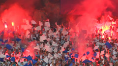 Soccer fans celebrate at the stadium - stock footage