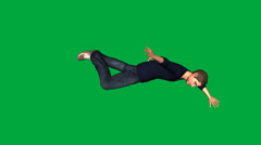 Four Characters Falling, Side View (Green Screen) Stock Footage