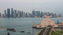 Doha, Qatar, Museum of Islamic Art, Dhow harbour Stock Footage