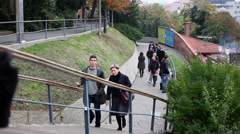 People who are walking at Upper Town in Zagreb Stock Footage