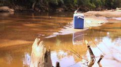 Fishing Box on River Bed Stock Footage