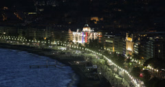 Ultra HD 4K Night Aerial View Negresco Hotel French Old Town Nice Skyline Lights Stock Footage