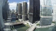 Stock Video Footage of USA, Chicago, Wacker Drive, river and skyscrapers, fisheye