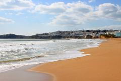 beach and town of albufeira, algarve, portugal - stock photo