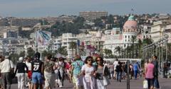 Ultra HD 4K Negresco Hotel Nice Skyline French Riviera People Walk Car Traffic Stock Footage