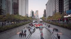 Lantern Festival, Cheonggyecheon Stream, Seoul, South Korea Stock Footage