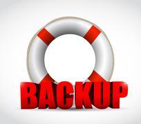 lifesaver backup sign illustration design - stock illustration