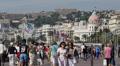 Negresco Hotel Nice Skyline French Riviera People Walking Car Traffic Passing HD Footage