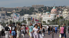 Negresco Hotel Nice Skyline French Riviera People Walking Car Traffic Passing Stock Footage