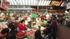 Food hall, Gwangjang market, Seoul, South Korea Stock Footage