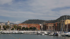 Port Nice Luxury Yacht French Riviera France Sailing Cruise Boat Building Church - stock footage
