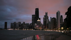 USA, Chicago, City skyline from Lake Michigan, night Stock Footage