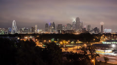 Dallas, Texas, USA, city skyline, night to day Stock Footage