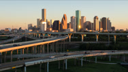 Stock Video Footage of Houston, Texas, USA, highway, city skyline