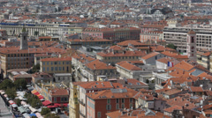 Aerial View Nice Skyline French Riviera Cote D'Azur Flower Market Historic Town Stock Footage