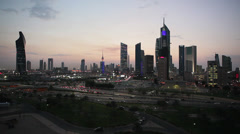 Kuwait, City Centre, elevated w/a, night Stock Footage