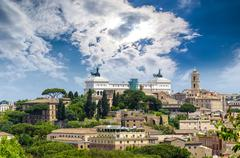 Panorama of rome and in the background the altar of the fatherland Stock Photos