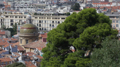Aerial View Cathedrale Sainte Reparate de Nice European Old Town Roofs Buildings Stock Footage