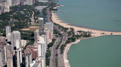USA, Chicago, Lake Michigan, suburbs and beaches, elevated view Stock Footage