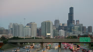 Stock Video Footage of USA, Illinois, Chicago, city skyline, interstate, elevated view