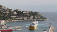 Stock Video Footage of Aerial View Nice Cote D'Azur Cruise Ship Ferry Maneuvers Movements Port Harbor