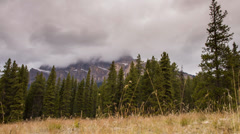 Motion dolly shot of cloudy afternoon in Banff National Park Stock Footage