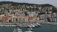 Aerial View Beautiful French Harbor Nice Skyline Big Cruise Ships Cote D'Azur Stock Footage