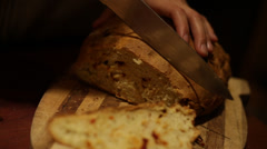 Cutting bread Stock Footage