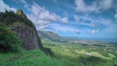 UHD, 4K, Hawaii, Oahu, Pali Lookout overlook island weather, jungle time lapse Stock Footage