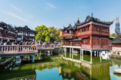 Oldest tea house of fang bang zhong lu old city shanghai china Stock Photos