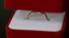 Gold Ring in Red Box Stock Footage