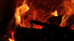 Move burning log in a fireplace Stock Footage