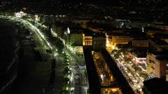 Night Lights Aerial Skyline Nice Mediterranean Sea Scenic European Destination Stock Footage