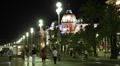 Night Lights Negresco Hotel Nice French Riviera People Walking Car Traffic Lit HD Footage