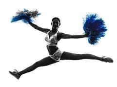 Young woman cheerleader cheerleading  silhouette Stock Photos