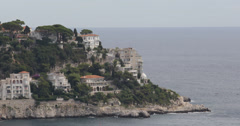 Ultra HD 4K Aerial View Coastline Seascape French Riviera Cote D'Azur Houses Day Stock Footage