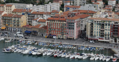 Ultra HD 4K Port Nice Luxury Yachts French Riviera France Sailing Boat Buildings Stock Footage