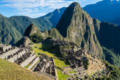 Machu picchu ruins peruvian andes  cuzco peru Stock Photos