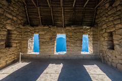 house of the guardians machu picchu ruins peruvian andes cuzco peru - stock photo