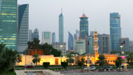 Stock Video Footage of Kuwait, Kuwait City, city centre buildings, dusk