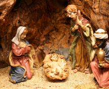 nativity scene with statues of hand-decorated pottery 2 - stock photo