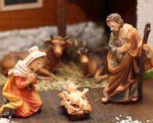 Nativity scene with jesus, joseph and mary 6 Stock Photos