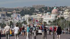 Nice Panoramic View Azure Coast France Negresco Hotel Tourists Passing Promenade Stock Footage