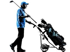 Man golfer golfing golf bag  silhouette Stock Photos