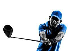 Man golfer golfing portrait silhouette Stock Photos