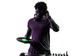 Disc jockey man silhouette Stock Photos