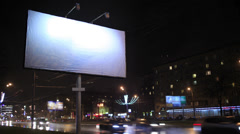 Time lapse empty billboard, by night Stock Footage