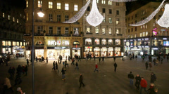 The Graben of Vienna on evening during Christmas season Stock Footage