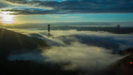 Stock Video Footage of Golden Gate & Fog